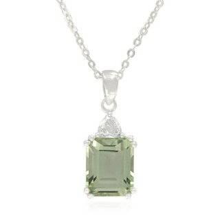 Sterling Silver Emerald Cut Green Amethyst Dangle Earrings Jewelry