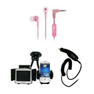 Headset Headphones (Pink) + Car Windshield Mounts + Car Charger