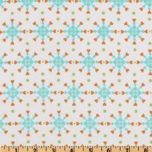 44 Wide Hugs & Kisses Snowflake Hearts Aqua/Orange/White