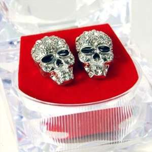 Hip Hop ICE CUBE Skelton Skull Stud Earrings with Crystals