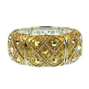 Gold Aurora Borealis Crystal Stretch Bracelet Fashion Jewelry Jewelry