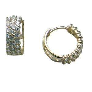 Inspired CZ Wide Band 14K Yellow Gold Huggie Earrings Jewelry