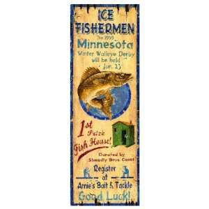 Customizable Ice Fishing Vintage Style Wooden Sign: Patio
