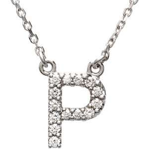 14K White Gold Diamond Initial Necklace P Jewelry
