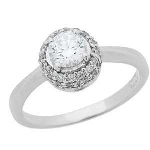 1 Carat 18kt White Gold Classic Diamond Ring Jewelry