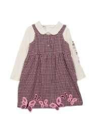 Kids Baby Girls Pink Brown Hounds tooth Butterfly Jumper Dress 6 9