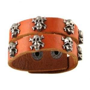 Genuine Leather Bracelet   Skulls & Bone Studs Jewelry
