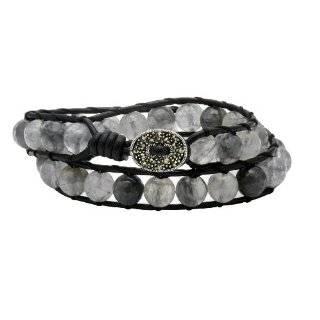 Silver 8mm Purple Amethyst Bead Leather Wrap Bracelet Jewelry