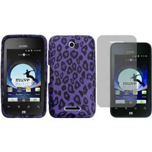 Purple Leopard TPU Case Cover+LCD Screen Protector for