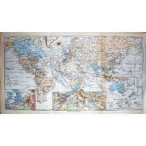 Meyers Atlas 1900 Map World Weltverkehrs Karte Colour