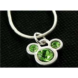 Licensed Disney Mickey Mouse Ears Charm Necklace with Green Cubic