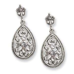 Silver tone Crystal Teardrop Post Earrings/Mixed Metal Jewelry