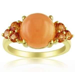 Orange Moonstone and Orange Sapphire Fashion Ring, Size 8 Jewelry