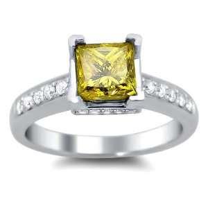 57ct Canary Yellow Princess Cut Diamond Engagement Ring 14k White Gold