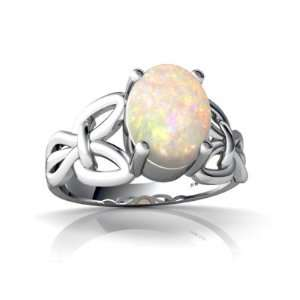 14K White Gold Oval Genuine Opal Celtic Knot Ring Size 6 Jewelry
