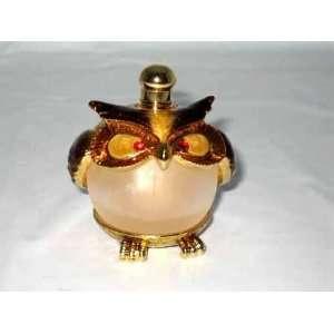 Glass Perfume Bottle Shiny Gold Finish Ruby Eyed Owl