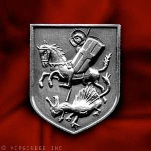 CHRISTIAN SAINT CROSS SHIELD HORSE KILL DRAGON MEDIEVAL ART SILVER PIN