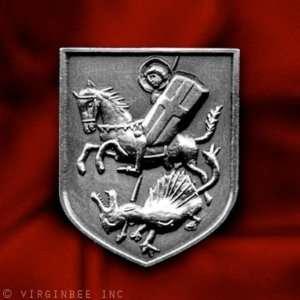 CHRISTIAN SAINT CROSS SHIELD HORSE KILL DRAGON MEDIEVAL ART SILVER PIN