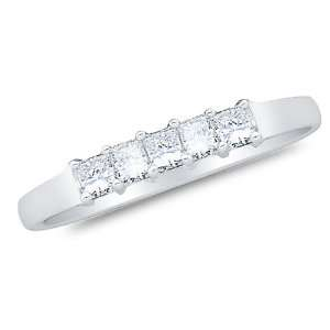 Gold Diamond Wedding Band Ring   w/ Channel Invisible Set Princess Cut