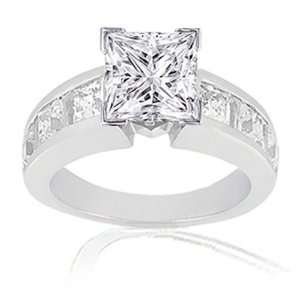 1.80 Ct Princess Cut Diamond Engagement Ring 14K GOLD CUT