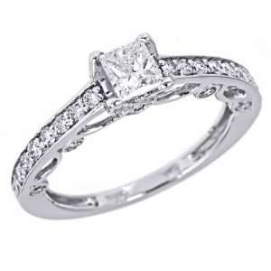 14k White Gold Natural Princess Cut Diamond Engagement Ring Filigree