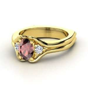 Stone Ring, Oval Red Garnet 18K Yellow Gold Ring with Diamond Jewelry