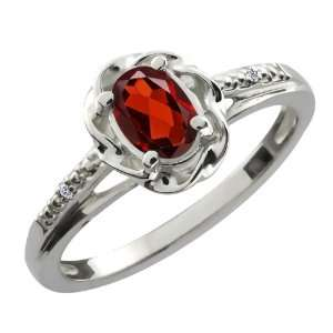 56 Ct Oval Red Garnet White Diamond Sterling Silver Ring Jewelry