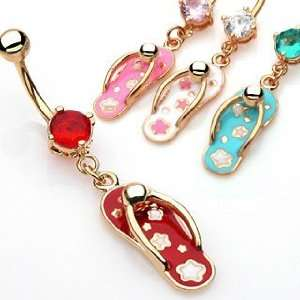 Gold Plated Kimono Sandal Navel Ring with Red Cubic Zirconia   14G   3