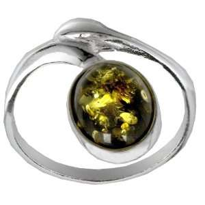 Sterling Silver Green Amber Tiny Oval Ring, Size 8 Jewelry