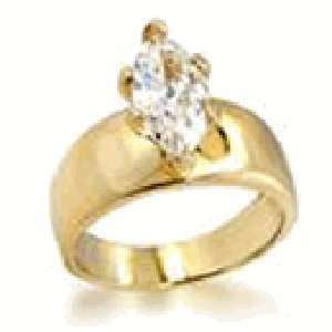 com W 530 Ladies Solitaire Marquise Cut 2 Carat Stone Ring with Cubic