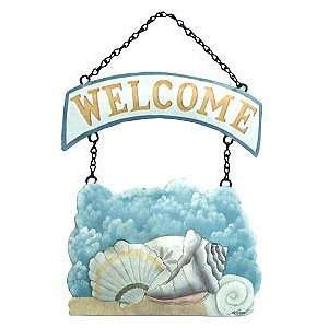 Painted Seashell Chain Welcome Sign   Shell Decoration