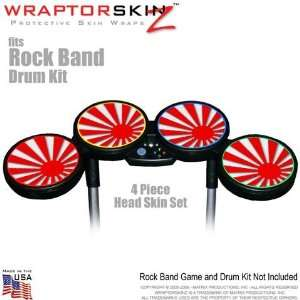 Rising Sun Red Skin by WraptorSkinz fits Rock Band Drum Set