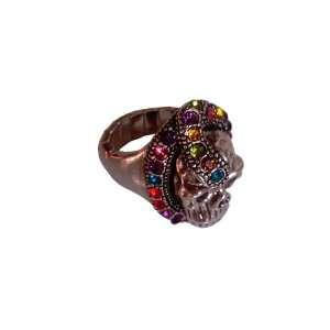 Skull Biker Diamond Ring in Sterling Silver Free Size (Flexible
