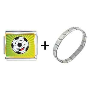 Gold Plated Sports Soccer Photo Italian Charms Pugster Jewelry