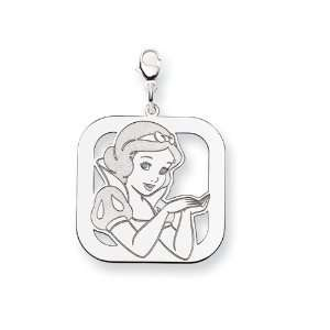 com Disney Snow White Square Lobster Clasp Ch in 925 Sterling Silver