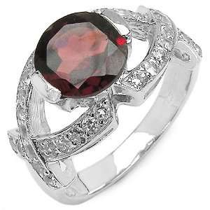40 Carat Genuine Garnet & White Topaz Sterling Silver Ring Jewelry