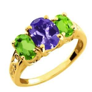 Ct Oval Blue Tanzanite and Green Peridot 10k Yellow Gold Ring Jewelry