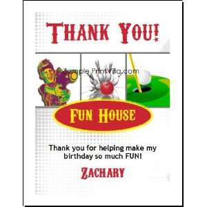Fun Center Thank You Cards