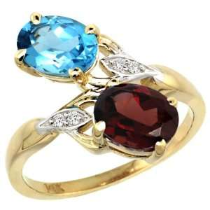 Gold ( 8x6 mm ) Double Stone Engagement Swiss Blue Topaz & Garnet Ring