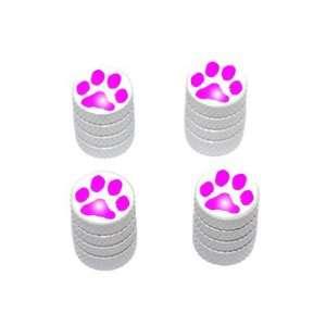 Paw Print Pink   Tire Rim Valve Stem Caps   White Automotive