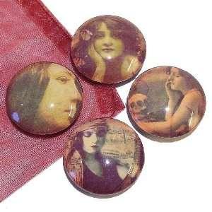 The Black Cat Jewellery Store Vintage Grunge Glass Tile Fridge Magnets