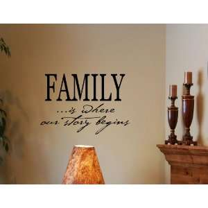 FAMILY IS WHERE OUR STORY BEGINS Vinyl Wall Decals Quotes