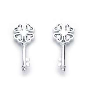 14K White Gold Plated Sterling Silver Clover Key CZ Stud