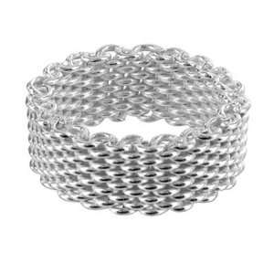 Sterling Silver 7mm Wide Mesh Ring Band Size 10 Jewelry