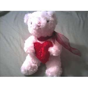 White Valentines Day Teddy Bear Plush