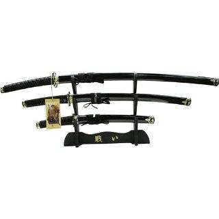 3 Pc Black Katana Dragon Symbol sword Set Sports