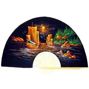 Hand Painted Fan with Two Boats 24  Home & Kitchen