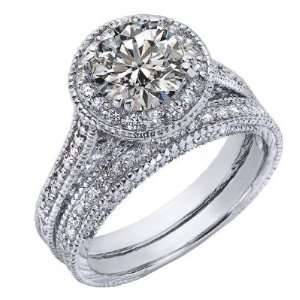 Round Brilliant Cut Diamond Engagement Ring Wedding Band