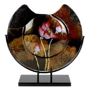 Lotus Pond Series Black, Gold, Pink Lotus Flower 16 Inch Round Vase