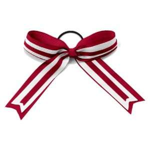Alleson Cheerleaders Hype Hair Bows CA/WH/CA   CARDINAL/WHITE/CARDINAL